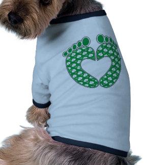 Green Footprint Heart Dog Clothes