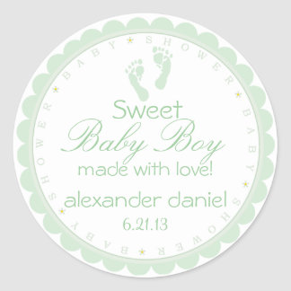 Green Footprints- Baby Shower Stickers