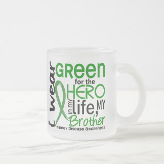 Green For Hero 2 Brother Kidney Disease 10 Oz Frosted Glass Coffee Mug
