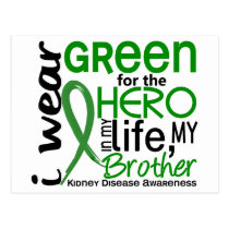 Green For Hero 2 Brother Kidney Disease Postcard