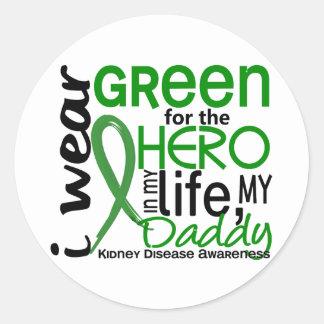 Green For Hero 2 Daddy Kidney Disease Classic Round Sticker