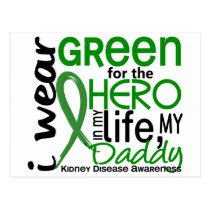 Green For Hero 2 Daddy Kidney Disease Postcard