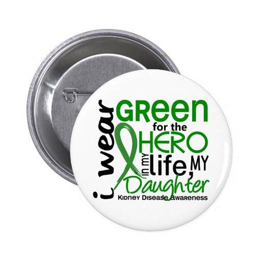 Green For Hero 2 Daughter Kidney Disease Pinback Buttons