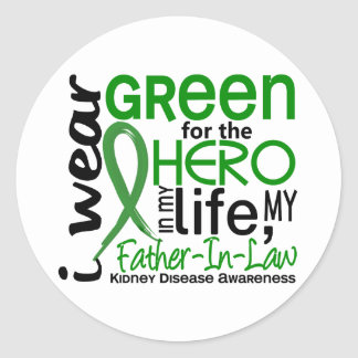 Green For Hero 2 Father-In-Law Kidney Disease Classic Round Sticker