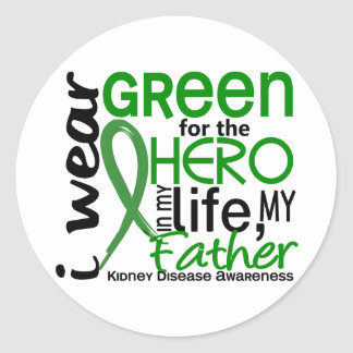 Green For Hero 2 Father Kidney Disease Classic Round Sticker