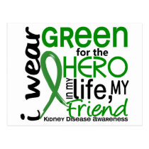 Green For Hero 2 Friend Kidney Disease Postcard