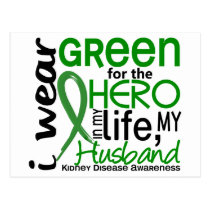 Green For Hero 2 Husband Kidney Disease Postcard