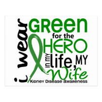 Green For Hero 2 Wife Kidney Disease Postcard