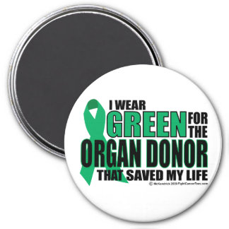 Green For Organ Donor 3 Inch Round Magnet