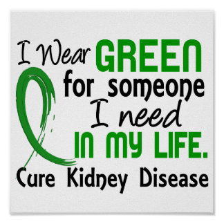 Green For Someone I Need Kidney Disease Poster
