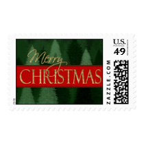 Green Forest Christmas Trees Stamp