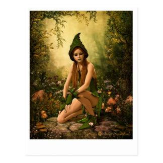 Green Forest Elf Postcard