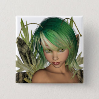 Green Forest Fairy 3D Close-Up Button