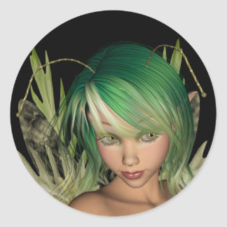 Green Forest Fairy 3D Close-Up Classic Round Sticker