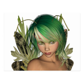 Green Forest Fairy 3D Close-Up Postcard