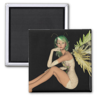 Green Forest Fairy 3D - Sitting Sideways Magnet