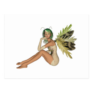 Green Forest Fairy 3D - Sitting Sideways Postcard