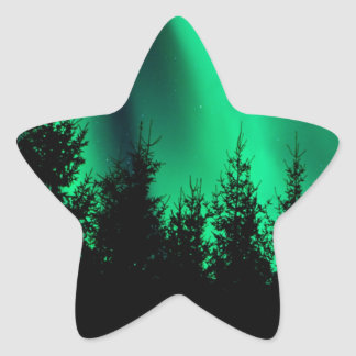green forest fire star stickers