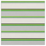 [ Thumbnail: Green, Forest Green, Grey, Beige, and Black Lines Fabric ]