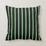 [ Thumbnail: Green, Forest Green, Mint Cream & Black Lines Throw Pillow ]