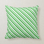 [ Thumbnail: Green, Forest Green & Mint Cream Colored Pattern Throw Pillow ]