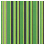 [ Thumbnail: Green, Forest Green, Pale Goldenrod & Black Lines Fabric ]