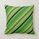 [ Thumbnail: Green, Forest Green, Pale Goldenrod & Black Lines Throw Pillow ]