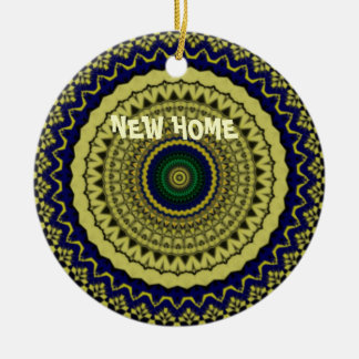 Green Forest Kaleidoscope Art Double-Sided Ceramic Round Christmas Ornament