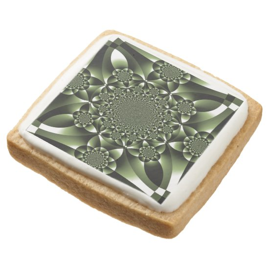 Green Forest Leaf Petals Square Shortbread Cookie