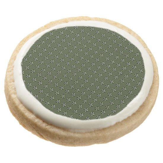 Green Forest Leaf Petals - Tiles Round Shortbread Cookie