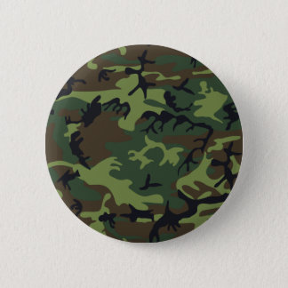 Green Forest Military Camouflage Pattern Pinback Button