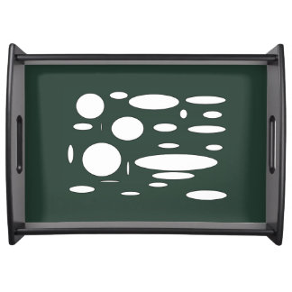 Green forest oval pattern serving tray