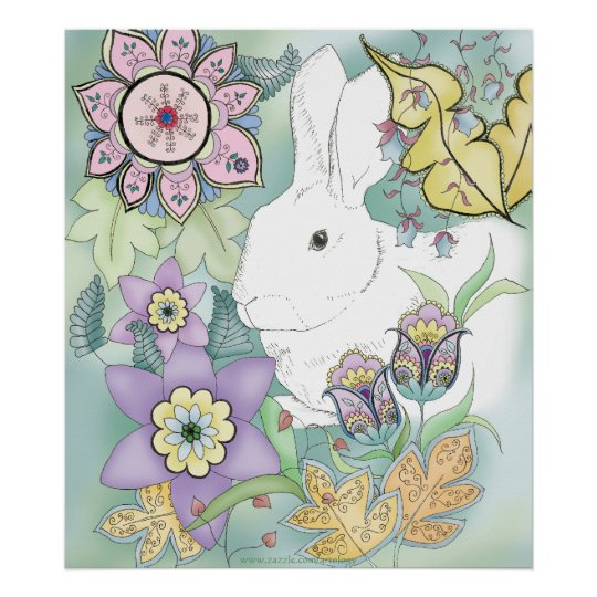Green Forest Rabbit Poster