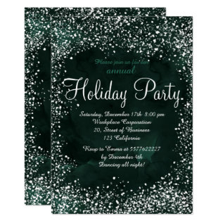 Green Forest Snow Watercolor Corporate Holiday Card at Zazzle