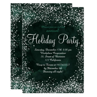 Green forest snow watercolor corporate holiday card