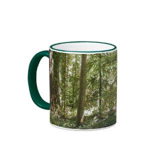 Green Forest, Trees in Wilderness Nature Drinkware Ringer Mug