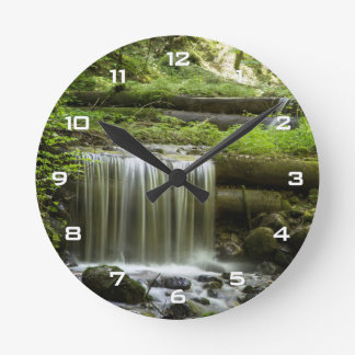 Green Forest Waterfall Wall Clock