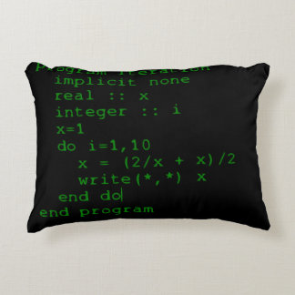 Green Fortran Code Accent Pillow