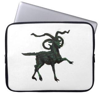Green Four-horned Demon Goat Laptop Sleeve