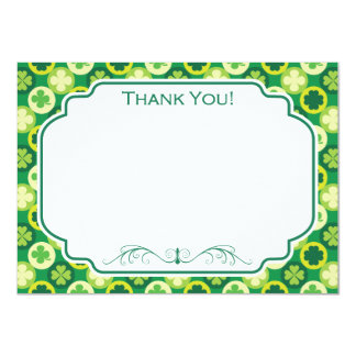 """Green Four Leaf Clover and Circles 4.5"""" X 6.25"""" Invitation Card"""