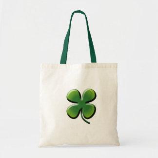 Green Four Leaf Clover Budget Tote Bag