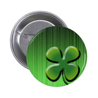 Green Four Leaf Clover Pinback Buttons