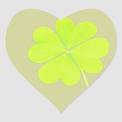 Green Four Leaf Clover Heart Sticker