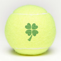 Green Four Leaf Clover Hearts Tennis Balls