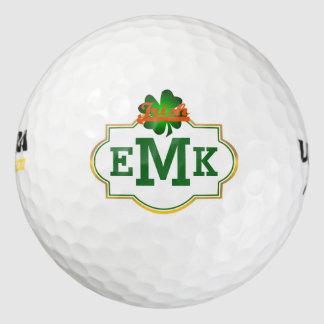 Green Four Leaf Clover Irish Three Initial Pack Of Golf Balls