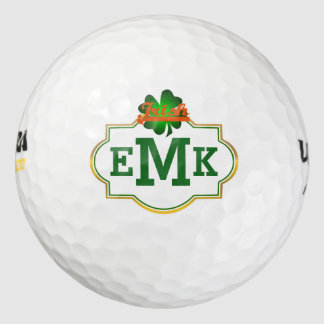 Green Four Leaf Clover Irish Three Initial Golf Balls