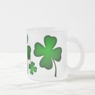 Green Four Leaf Clover 10 Oz Frosted Glass Coffee Mug