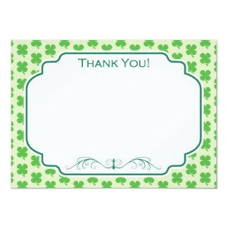 "Green Four Leaf Clover Pattern 4.5"" X 6.25"" Invitation Card"