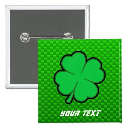 Green Four Leaf Clover Pinback Button