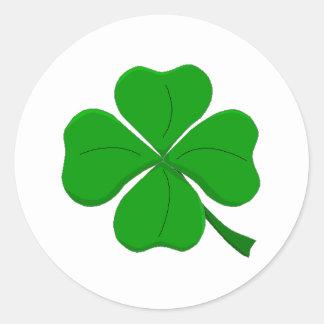 Green Four-Leaf-Clover Round Stickers